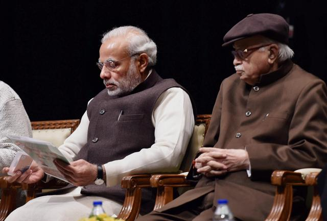Prime Minister Narendra Modi with senior leader LK Advani at the BJP parliamentary board meeting in New Delhi.