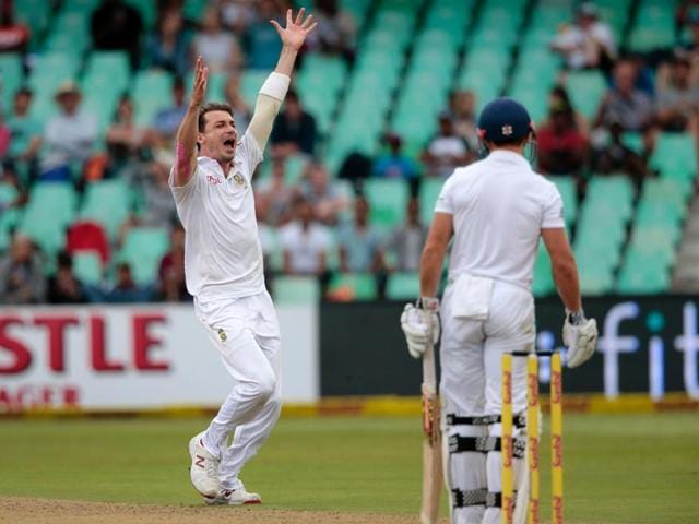 South Africa's bowler Dale Steyn celebrates after dismissing England's batsman James Taylor during the first day of the cricket Test match between England and South Africa at the Kingsmead stadium.