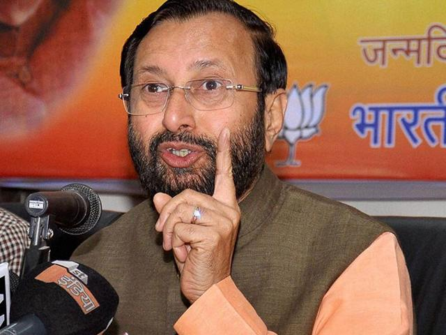 File photo of Union environment minister Prakash Javadekar. The minister and some other BJP leaders on Saturday slammed Congress for criticising PMModi's brief stop over in Lahore on his way back to New Delhi from Kabul.
