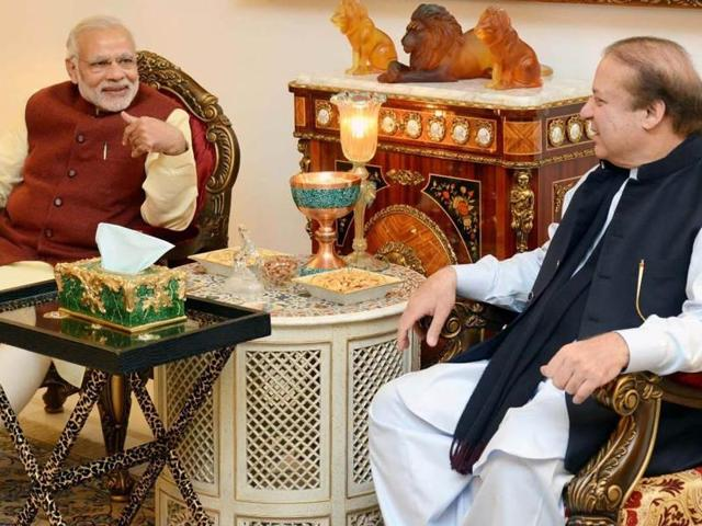 Indian Prime Minister, Narendra Modi and Pakistan Prime Minister, Nawaz Sharif look on during a meeting in Lahore.