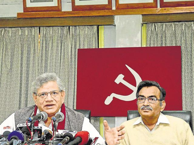 CPI(M) general secretary Sitaram Yechury along with party leader Suryakanta Mishra addressing a press conference at the the end of the party's meeting in Kolkata on Saturday.