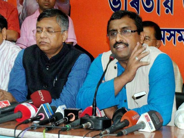 BJP National Secretary and observer of Assam State Ram Madhav addresses a press conference after nine congress MLA joined party in Guwahati.