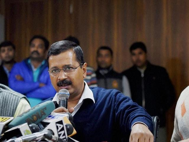 Delhi Chief Minister Arvind Kejriwal with Dy CM Manish Sisodia and Delhi Transport Minister Gopal Rai at a press conference to announce the blue print of the odd-even scheme which aims to curb rising pollution, in New Delhi on Thursday.