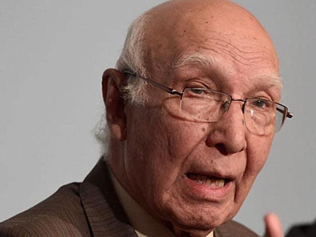 File photo of Pakistan's adviser on foreign affairs Sartaj Aziz.