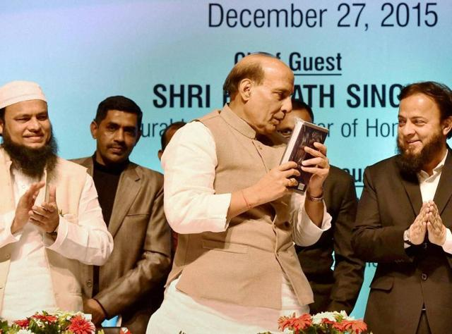 Home minister Rajnath Singh with Zafar Sareshwala, chancellor of Maulana Azad National Urdu University (R),  at an event in Lucknow.