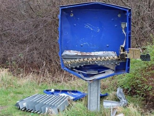 Remains of the condom dispenser in Schoeppingen