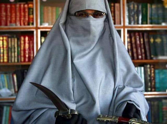 Asiya Andrabi, chief of the Dukhtaran-e-Milat (Daughters of the Muslim Faith). The separatist group has condemned New Year's celebrations in Kashmir.