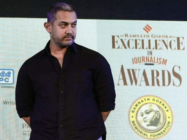 Actor Aamir Khan at Ramnath Goenka awards at Maurya Hotel, in New Delhi, on Monday, November 23, 2015.((Photo by Arun Sharma/Hindustan Times))