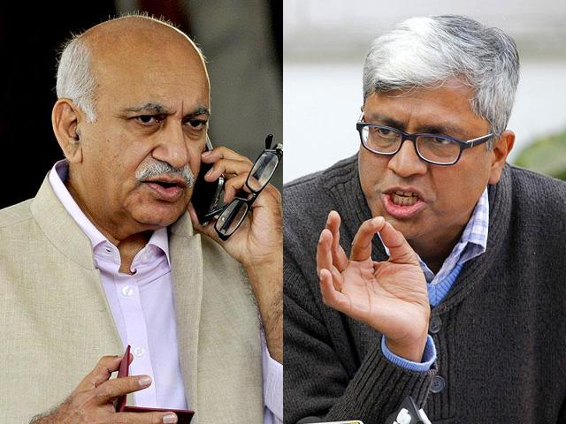 A combination photograph of BJP's MJ Akbar and AAP's Ashutosh. The two leaders held back-to-back press conferences on Sunday as the BJPdemanded an apology from AAPchief Arvind Kejriwal for linking Arun Jaitley to the DDCArow.
