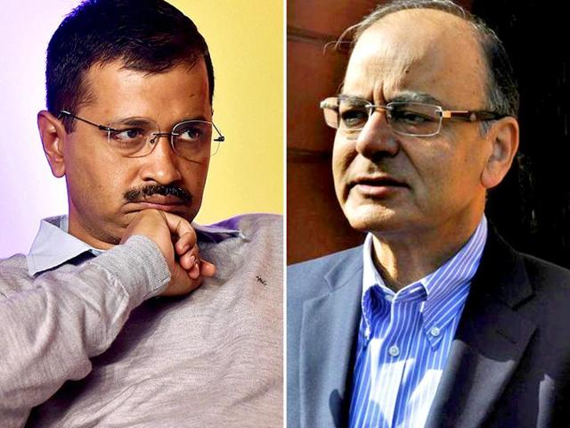 A combination photograph of Delhi CM Arvind Kejriwal (PTI Photo) and Finance minister Arun Jaitley (HT Photo). Kejriwal on Monday said he won't apologise to Jaitley as no clean chit was given to the finance minister.