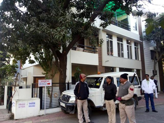 The house of RTO employee Arun Singh at Annapurna Nagar in Indore on Monday.