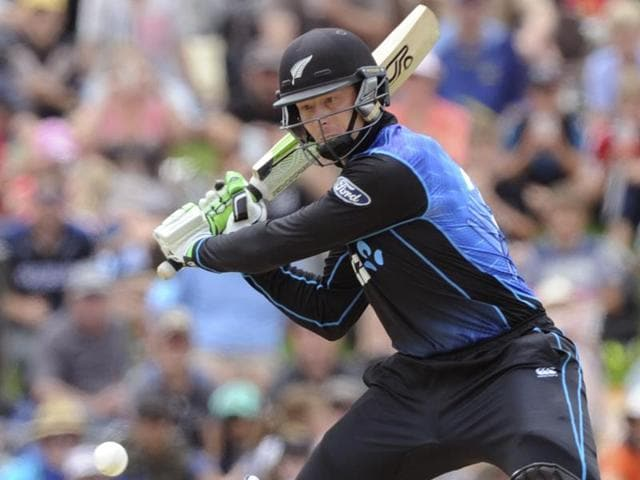 Martin Guptill of New Zealand celebrates his 50 off 17 deliveries during the second ODI against Sri Lanka at Hagley Park in Christchurch on December 28, 2015.
