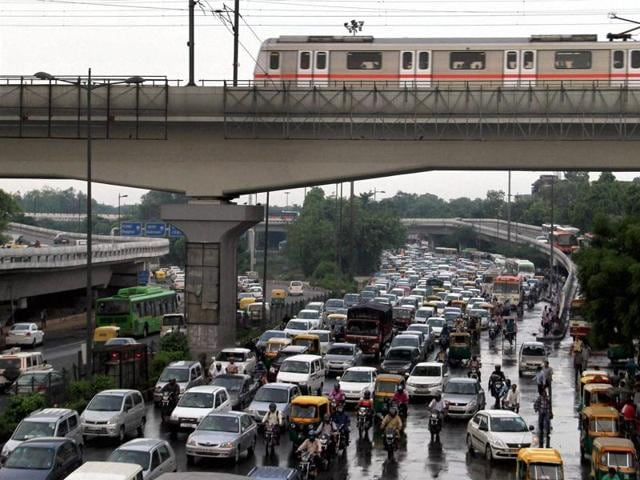 A view of a traffic jam at Ring Road near ISBT in New Delhi.