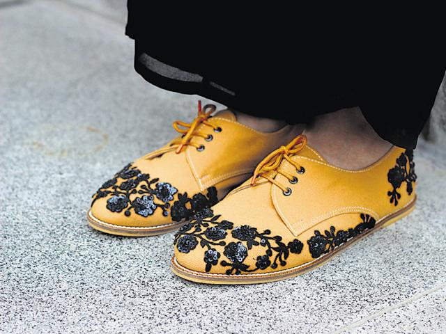 Not only clothes, sequins add an edge to shoes, too.