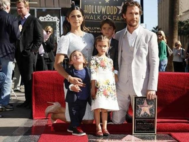 Matthew McConaughey and his family as he receives his star on the Hollywood Walk of Fame.