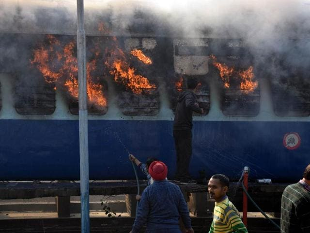Two coaches of Kalka-Shirdi Sai Express were gutted as they caught fire when the train was parked at the washing yard of the Ambala Cantt railway station on Monday.(HT FILE PHOTO)
