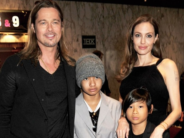 Brad Pitt and Angelina Jolie Pitt with Maddox and Pax.