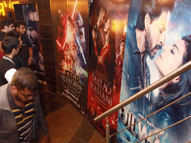 Audience at a Mumbai theatre in India which is screening all three films: Star Wars, Dilwale and Bajirao Mastani.