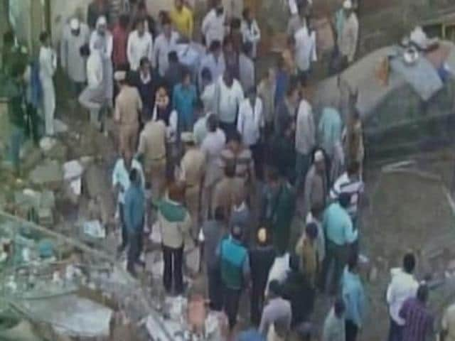 While nine were pulled out, one person is still feared trapped under the debris of the two-storied building that collapsed in Bhiwandi near Mumbai on Tuesday morning.(ANI Photo)