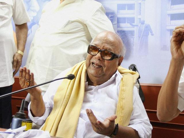 DMK chief M Karunanidhi addresses a press conference in Chennai. Nearly three years after snapping ties with the Congress, Karunanidhi on Monday said that the national party would be among those invited for an alliance for the next Assembly elections slated in 2016.