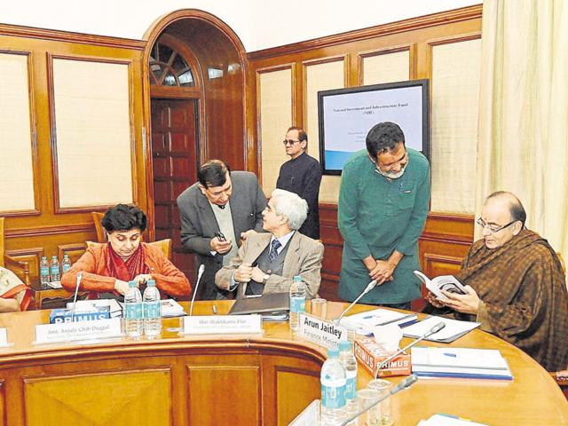 Finance Minister Arun Jaitley chairing the first meeting of the Governing Council of NIIF in New Delhi on Tuesday.