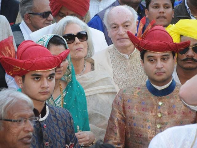 The wedding procession of Richard Holkar's son Yeshwant Rao Holkar in progress at Maheshwar Fort in Indore on Tuesday.