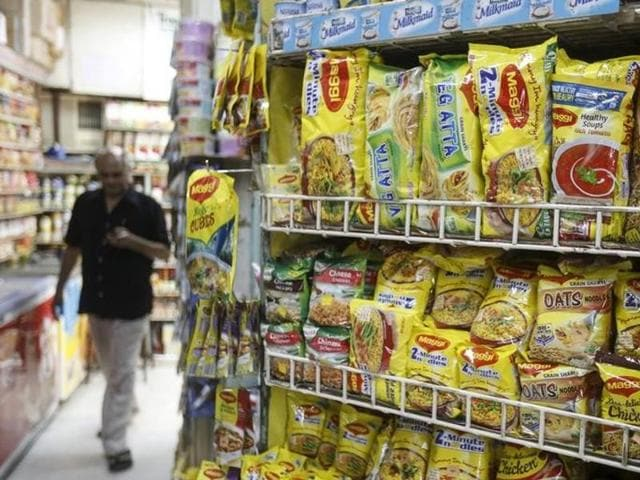 Packets of Nestle's Maggi instant noodles are seen on display at a grocery store in Mumbai, India, June 4, 2015