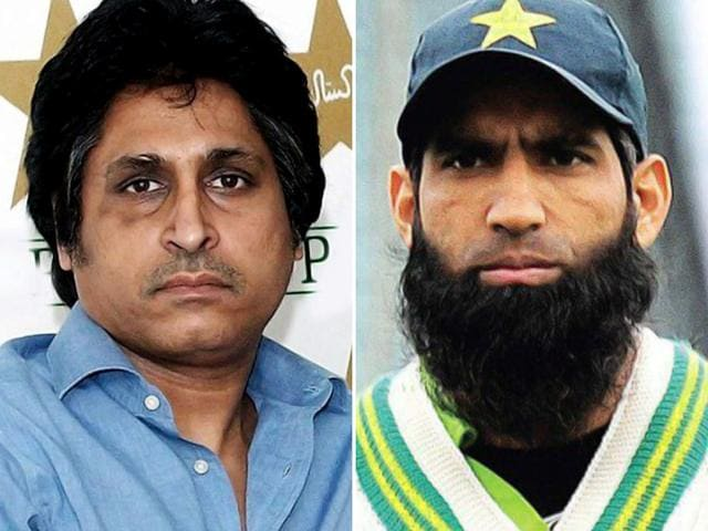 Former cricketers Ramiz Raja, left, and Mohammad Yousuf.