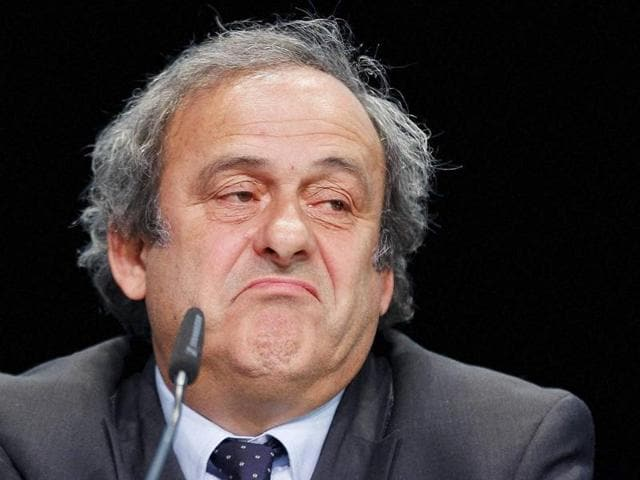 A file photo of former Uefa President Michel Platini speaking to the media as he leaves after a hearing at the Court of Arbitration for Sport (CAS) in Lausanne, Switzerland.(Reuters pHoto)