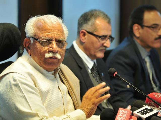 Haryana chief minister Manohar Lal Khattar addressing the media in Chandigarh on Tuesday.