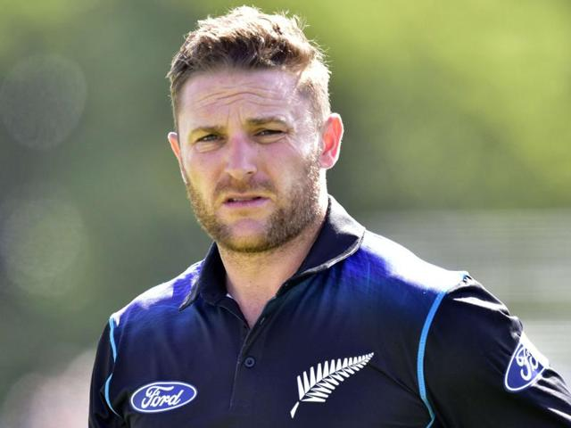 Brendon McCullum after New Zealand's victory in the first ODIagainst Sri Lanka at Hagley Park in Christchurch on December 26, 2015.