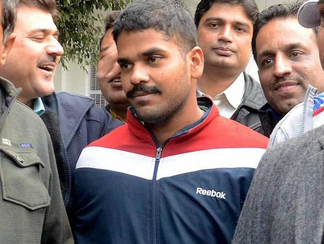 Dismissed Air Force official Ranjith (C) who has been arrested for allegedly sharing secret documents with intelligence operatives backed by Pakistan's ISI, at the Special Cell of the Delhi Police in New Delhi on Tuesday.