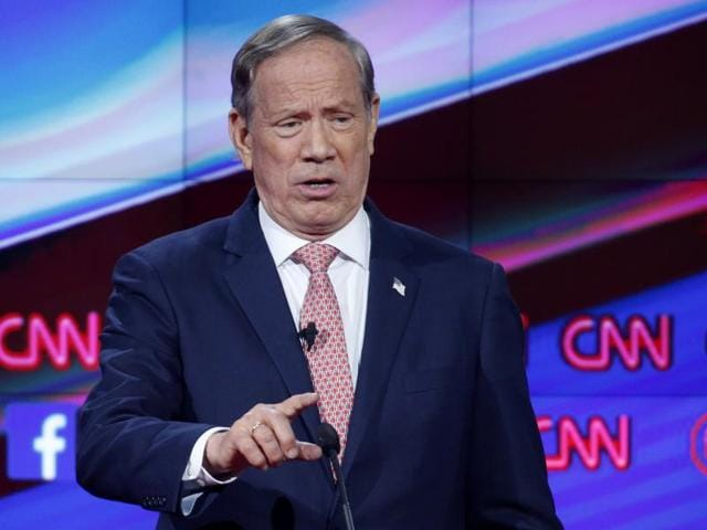 In this Dec. 15, 2015, file photo, George Pataki makes a point during the CNN Republican presidential debate at the Venetian Hotel & Casino in Las Vegas.