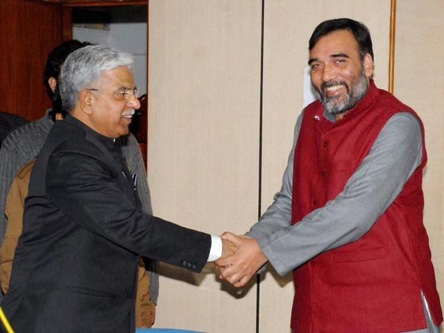 Delhi Transport Minister Gopal Rai meeting with Delhi Police Commissioner B S Bassi in New Delhi on Tuesday.