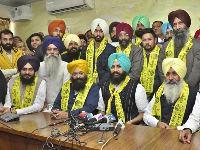 MLAs Simarjit Singh Bains and Balwinder Singh Bains along with their  members of team Insaaf in Ludhiana on Wednesday.