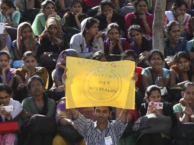 Students gather for a protest against Facebook's Free Basics in Hyderabad.