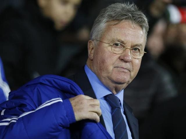 Chelsea's interim manager Guus Hiddink, gives his first press conference since being appointed, at the club's training facilities in Stoke d'Abernon.(AP Photo)