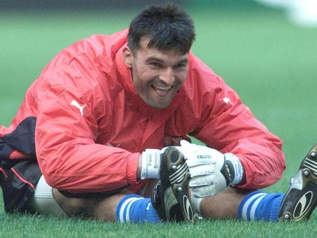 A file photo of Czech goalkeeper Pavel Srnicek warming up during a training session of the Czech soccer team at Amsterdam Arena.