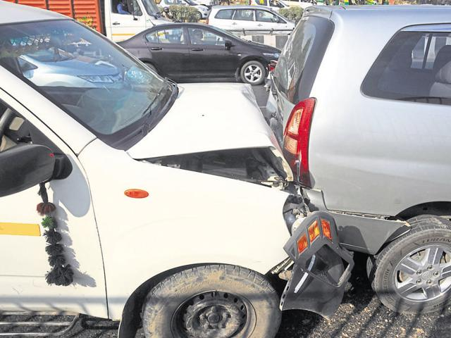 Four vehicles piled up near Signature Tower after a Delhi-bound vehicle suddenly applied the brakes.