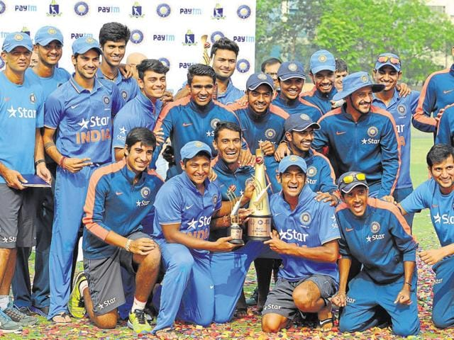 The India Under-19 team after winning a three-nation tournament held recently in Kolkata. In the past, there have been instances of overage players making the grade before being dropped. The India team would be hoping nothing of the sort happens when it plays the U-19 World Cup in Bangladesh early next year.