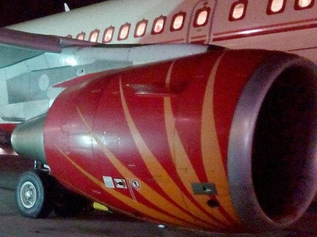An Air India Express flight to Dubai was halted seconds before take-off as the flight crew spotted a stray dog on the runway on Wednesday
