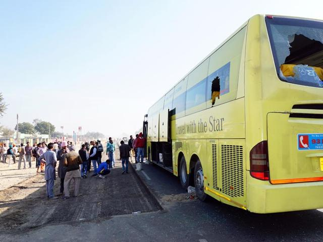 The private bus that injured two youths on Bathinda-Zirakhpur national highway  on Thursday.