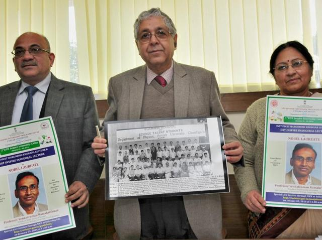 Panjab University V-C Arun Grover and others during a press conference on the university campus on Wednesday.