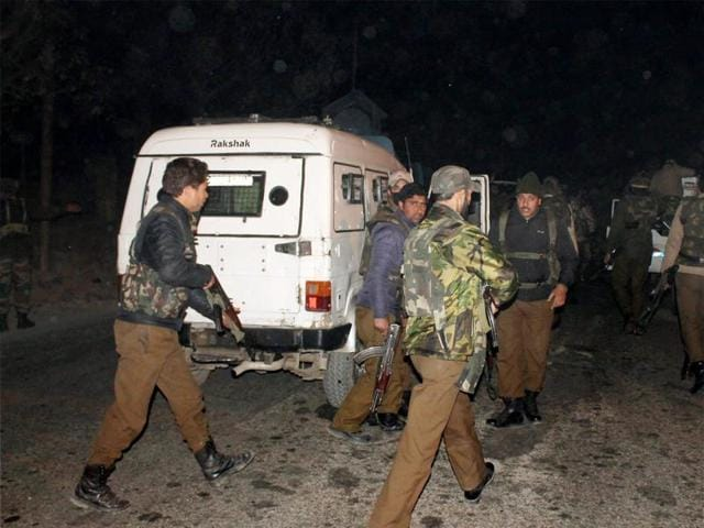 CRPF personnel and Special Operation Group (SOG) of police inspecting near the encounter site at Pampore where two militants were killed in a brief exchange of fire with Security forces in South Kashmir district of Pulwama on Tuesday.(PTI)