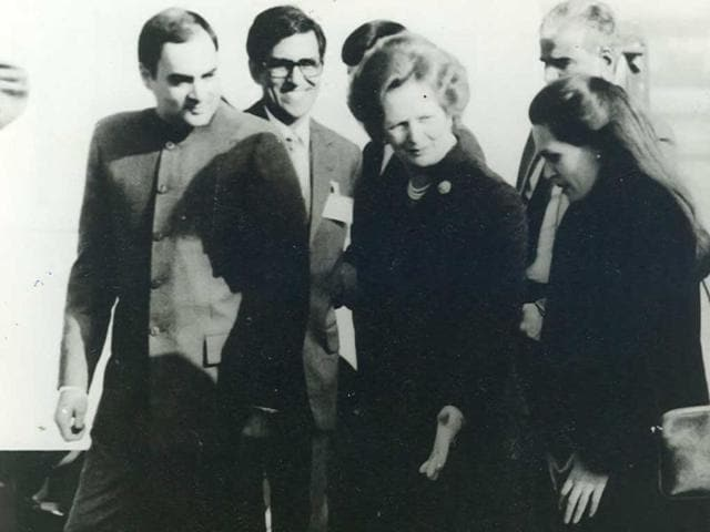 File photo of former prime minister Rajiv Gandhi and Sonia Gandhi with former British prime minister Margaret Thatcher. Newly declassified documents have revealed that Gandhi conflated alleged British inaction against commercial offences originating from Britain with the posting of two drug liaison officers in the capital.
