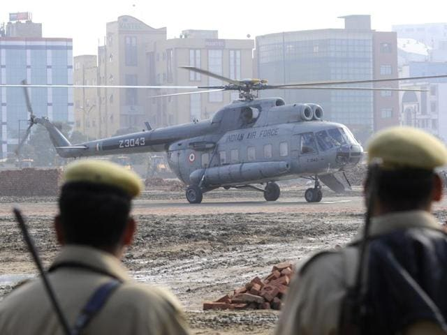 A trial landing of a helicopter was conducted at a temporary helipad in Sector 62 area on Tuesday.