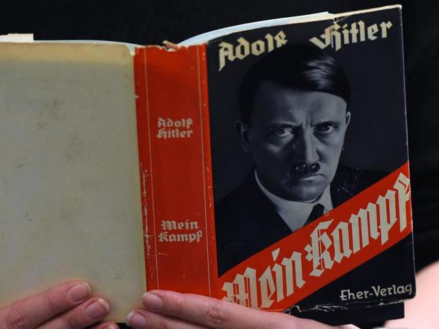 This file photo shows a German edition of Adolf Hitler's