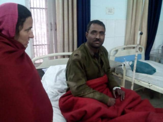 Labourer being treated in a local hospital in Jammu.
