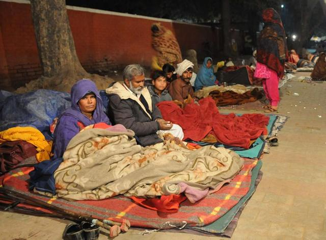 Homeless people sleeping outside the PGIMER in Chandigarh.