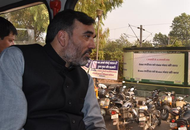 Delhi transport minister Gopal Rai travels in a DTC bus on Friday.